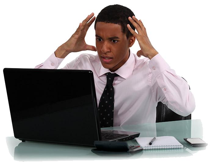 frustrated man at laptop