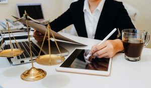lawyer with tablet